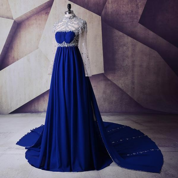 Maternity Evening Dresses For Pregnant 2018 Abendkleider Crystals Beaded Elegant Women Long Prom Dresses For Wedding Party Royal Blue Long Sleeves Prom Dress