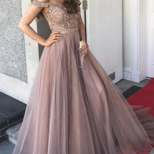 Beaded card shoulders, evening gowns, ball gowns prom dresses
