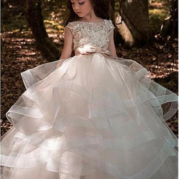 Flower Girl Dress, New 2018 Pretty Bateau Neckline Ball Gown Flower Girl Dresses With Lace Appliques Belt Floor Length Girls Formal Wedding Birthday Party Gowns