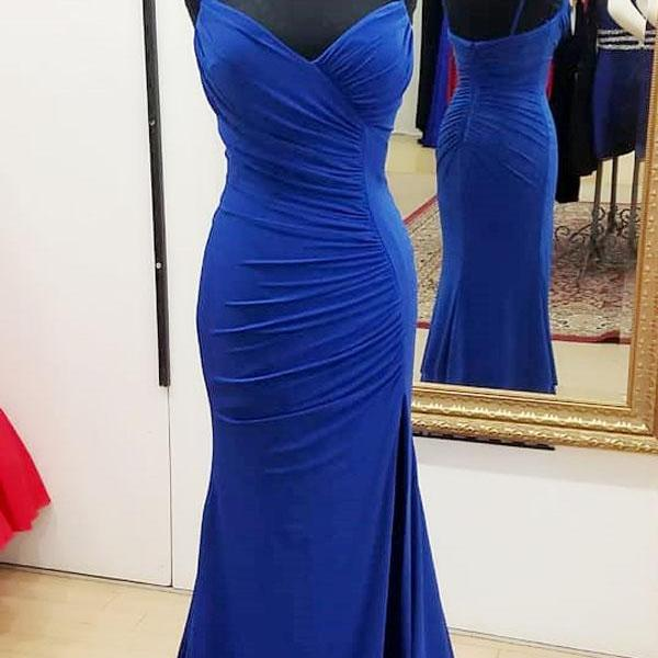 Royal Blue Plunge V Spaghetti Straps Floor Length Trumpet Prom Dress Featuring Slit