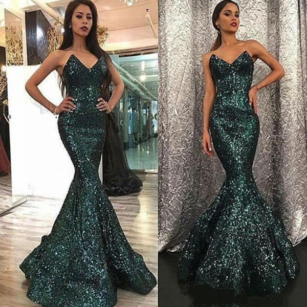 2018 Mermaid Sweetheart Sweep Train Green Sequined Prom Dress