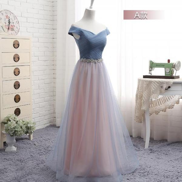 Newest Beach Long Off the Shoulder Bridesmaid Dresses, A Line Ruched Beach Maid of Honor Long Wedding Guest Party Dress, 2020 Prom Party Gowns Custom
