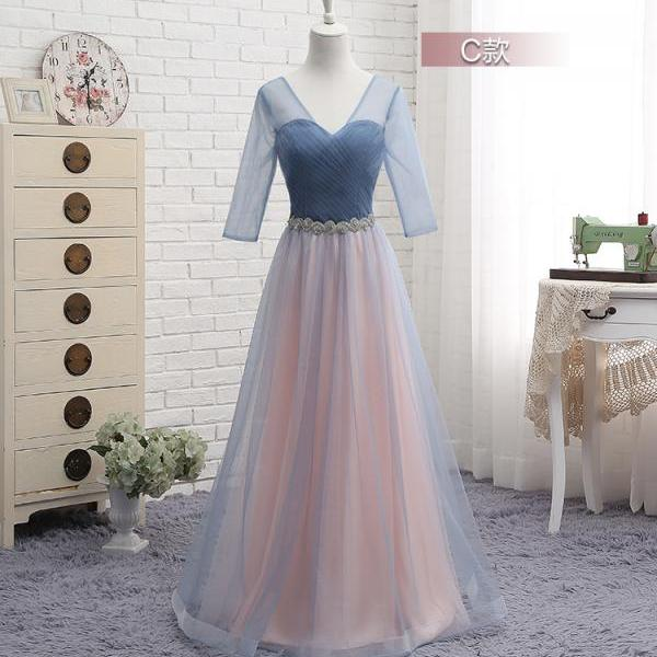 Newest Beach 3/4 Sleeves Sheer V Neck Long Bridesmaid Dresses, A Line Ruched Beach Maid of Honor Long Wedding Guest Party Dress, 2020 Prom Party Gowns Custom