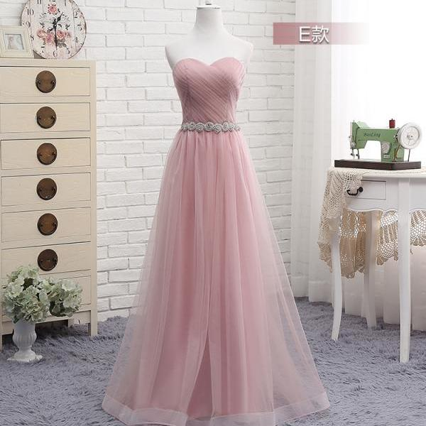 Newest Blush Pink Sweetheart Long Bridesmaid Dresses, A Line Ruched Floor Length Maid of Honor Long Wedding Guest Party Dress, 2020 Prom Party Gowns Custom