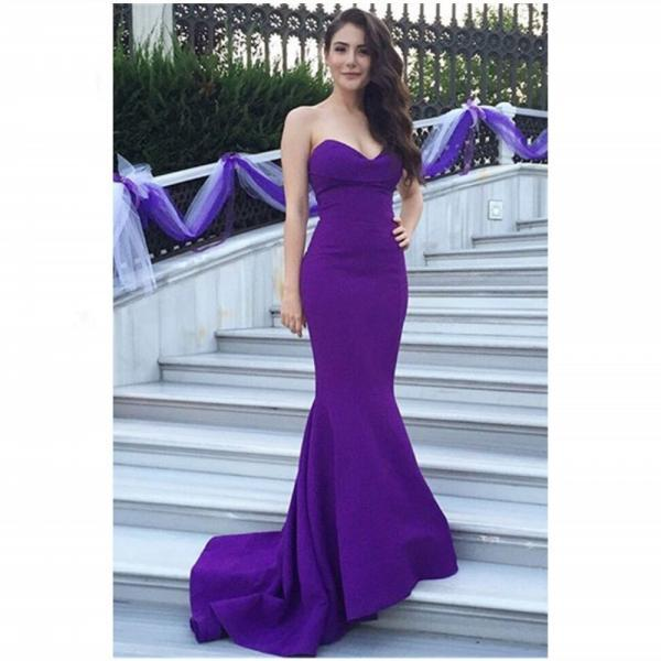 New Sexy Purple Mermaid Prom Dresses Sweetheart Evening Dresses Mermaid Sweetheart Sleeveless Custom Made Party Gowns Evening Gowns Lace-up Back Satin Evening Dresses Black Homecoming Dress Formal Party Dance Dresses Vestido de Festa