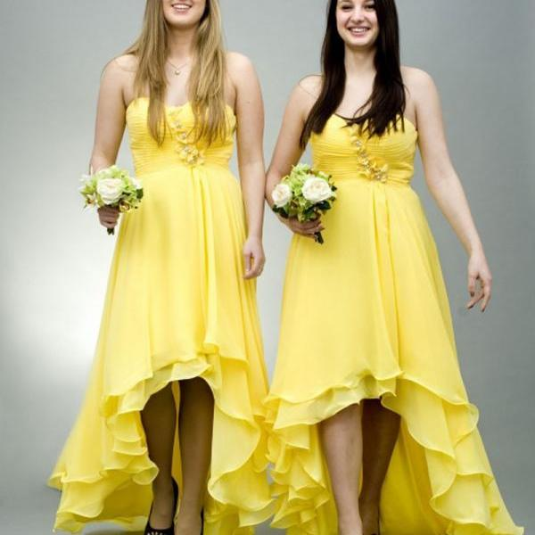 Yellow Bridesmaid Dress High Low Dresses Plus Size Chiffon Simple