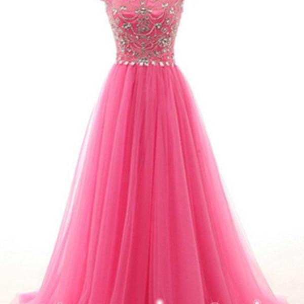 Pink Prom Dresses, Beads Prom Dresses,A Line Evening Dresses,Evening Dresses, Prom Dresses,Party Dresses,Prom Dress, Prom Dresses, A-line Tulle Beading Handmade Long Zipper Back Beautiful Prom Dresses