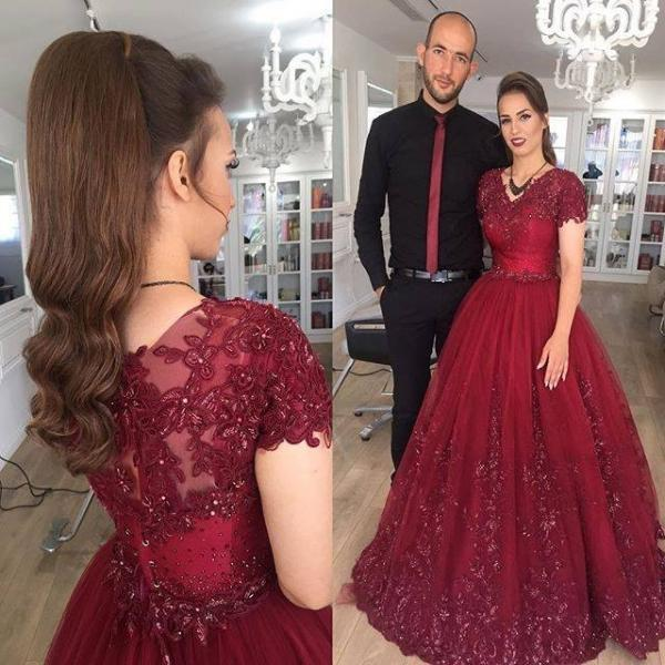 Evening Dress, Evening Dresses, Prom Dress, Prom Dresses, A Line Lace Tulle Evening Prom Dress, Burgundy Formal Party Dress