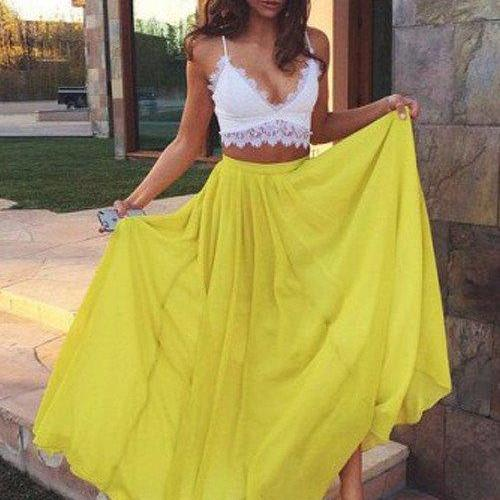 Sweetheart Yellow Chiffon Lace Prom Dresses, Long Evening Dresses, Sexy Maxi Dresses, Two Piece Prom Dress, Woman Summer Dresses, Woman Dress