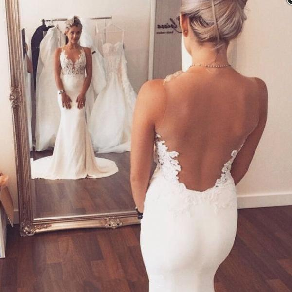 Lace Appliques Plunge V Sleeveless Floor Length Mermaid Wedding Dress Featuring Illusion Open Back and Train