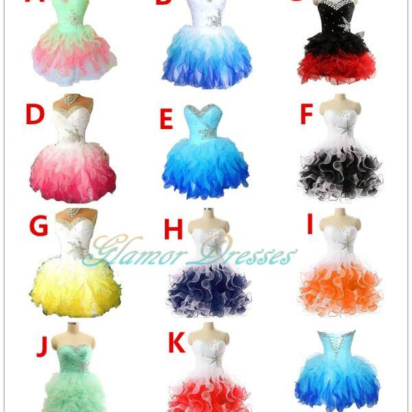 Blue Organza Short Beads Lace up Back Prom Dresses,Short Homecoming Dresses,Junior Prom Dresses,Graduation Dresses,Short Bridesmaid Dress, Junior Formal Party Dress